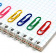 Notebook and multi-coloured paper clips. — Stockfoto