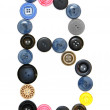 The alphabet from buttons for sewing. — Stock Photo