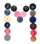 The alphabet from buttons for sewing. — Foto Stock