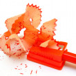 Stock Photo: Sharpener and pencil on a white background.
