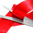 Scissors and red tape. — Stock Photo