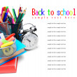 School accessories, books and alarm clock. — Stock Photo #12391131