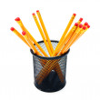 Pencils in a basket. On white background. — Stock Photo #12391303