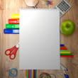 School accessories on a wooden background. — Stok fotoğraf