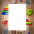 School accessories on a wooden background. — Stock Photo #12391584