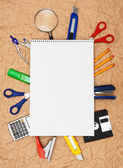 Back to school. School tools and a notebook. — Stock Photo