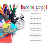 School accessories, books and alarm clock. — Stock Photo