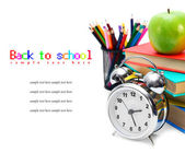 Back to school. School tools. On white background. — Stock Photo