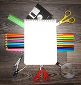 Notebook and school tools. — Stock Photo