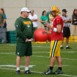 Aaron Rodger and Head Coach Mike McCarthy of the Green Bay Packers — Stock Photo
