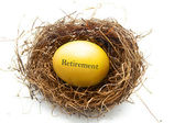 Golden retirement egg — Stock Photo