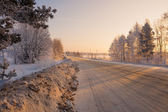 Purified road from snow in cold morning — Stock Photo