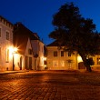 Old European street at night - Stock Photo