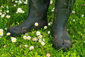 An old pair of rubber boots — Stock Photo
