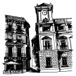 Black and white sketch drawing of a small square of old european city - Stock Vector