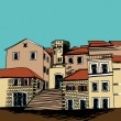 Sketch drawing of a small square of old mediterranean city - Stock Vector