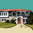 Stylized drawing of big mediterranean villa - Stock Vector