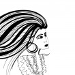 Stock Vector: Black and white sketch of woman with fluttering hair