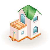 Two story small house with terrace and green roof. Three dimensional drawing — Stock Vector