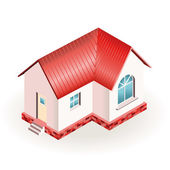 Small house with red roof. Three dimensional drawing — Stock Vector