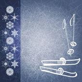 Blå grunge vintern bakgrund med skidor och stavar — Stockvektor