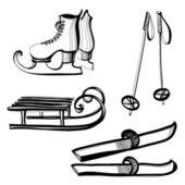 Set of equipment for outdoor winter sports — Stock Vector