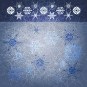 Blue grunge winter background with snow flakes — Stock Vector