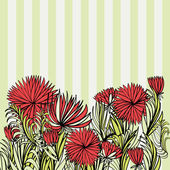 Floral ornament with red flowers and striped background — Vector de stock