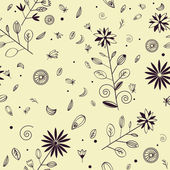 Seamless hand drawn floral pattern with violet ink elements — Stock Vector