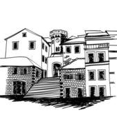 Blanco y negro dibujo dibujo de una pequeña ciudad mediterránea plaza de la vieja — Vector de stock