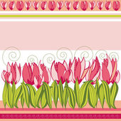 Pink floral background with tulips and stripes — Stock Vector