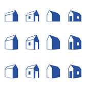 Various signs of small houses in perspective — Stock Vector