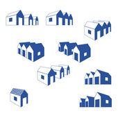 Various signs of group of small houses in perspective — Stock Vector