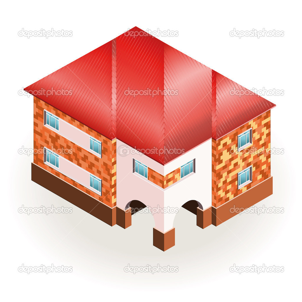 Brick house with red roof three dimensional drawing for 3 dimensional drawing software