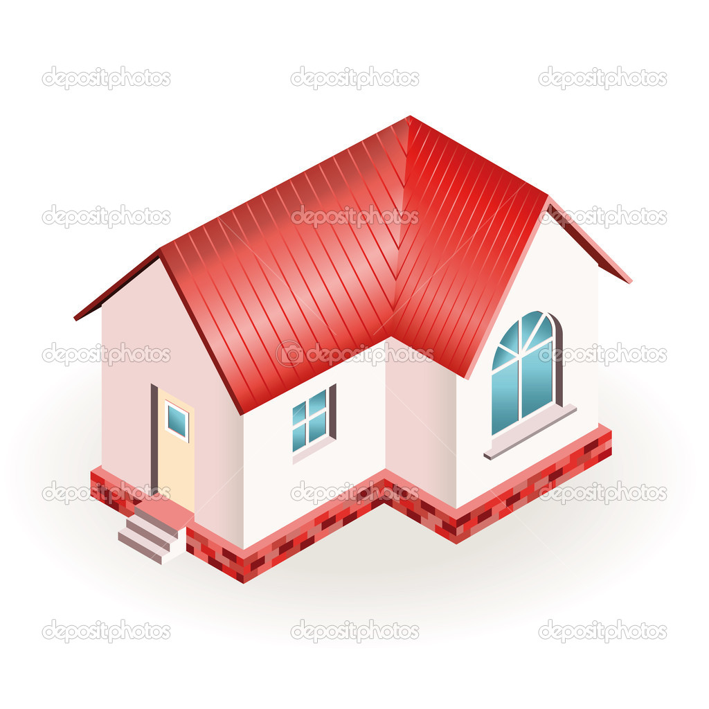 Small house with red roof three dimensional drawing for 3 dimensional drawing software
