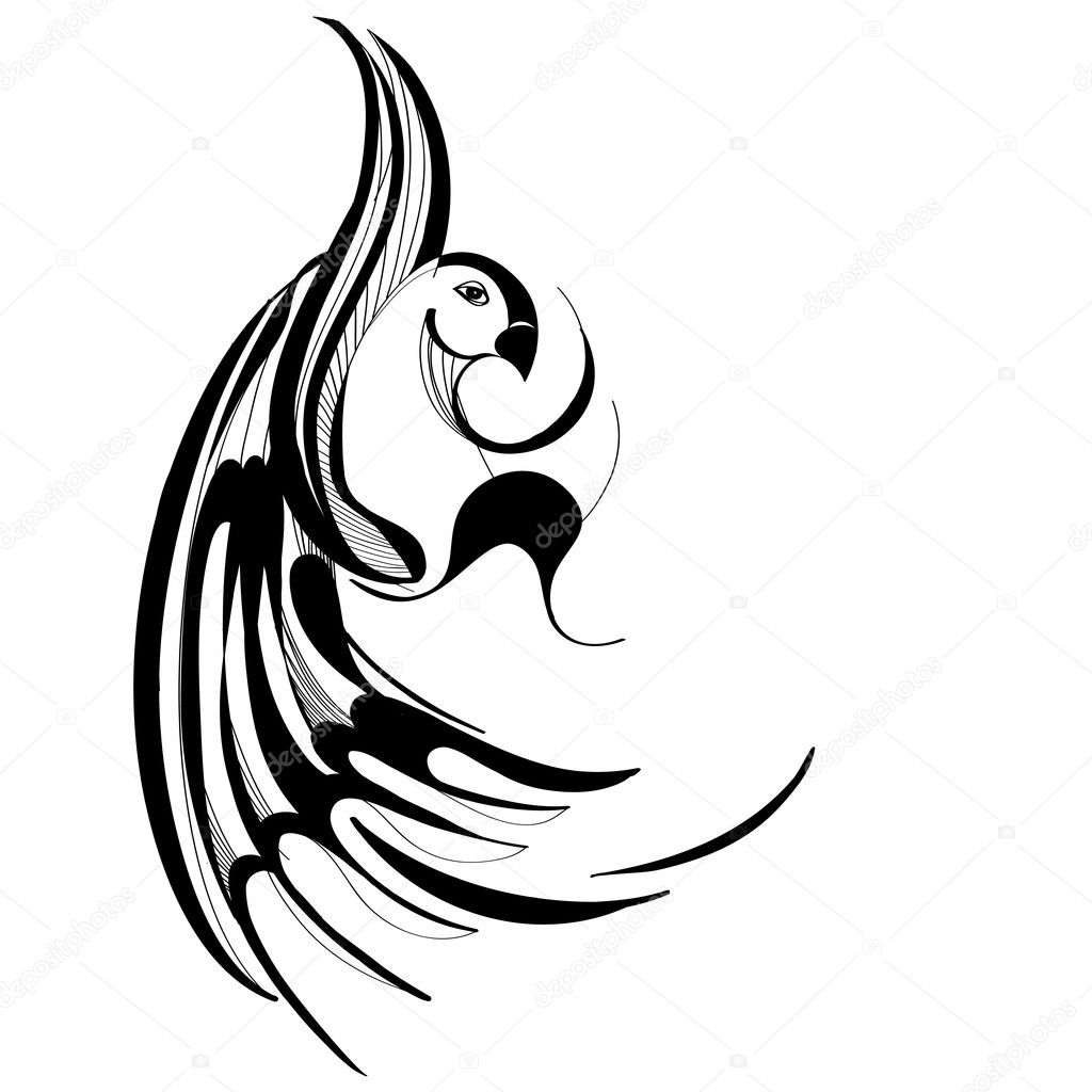 Simple black and white bird drawing - photo#21