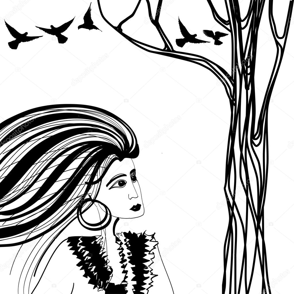 Black and white sketch of woman looking at the tree with birds — Imagen vectorial #11749191