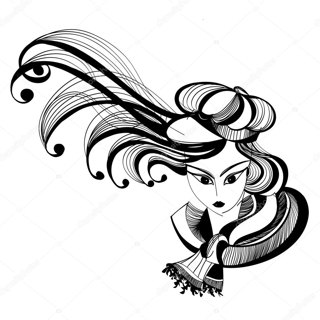 Black and white sketch of a girl with fluttering hair — Stock Vector #11749279