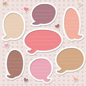 Collection of cute pink speech bubbles — Stock Vector