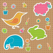 Collection of frames for text in the shape of animals — Stock Vector