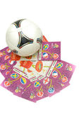 Soccer ball and tickets for the European Football Championship 2012. May, 13 2012. The first tickets for Euro 2012 delivered to Russia, Moscow — Stock Photo