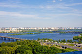 Kyiv, Ukrain.View on Dnieper River and area Darnitsa — Stock Photo