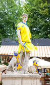 LVIV, UKRAINE - JUNE,14, 2012:Statue Diana of Versailles in form of football national team of Ukraine in June, 14, Lviv. Time Euro 2012 in Lviv famous sculptures were dressed in football uniforms — Stock Photo
