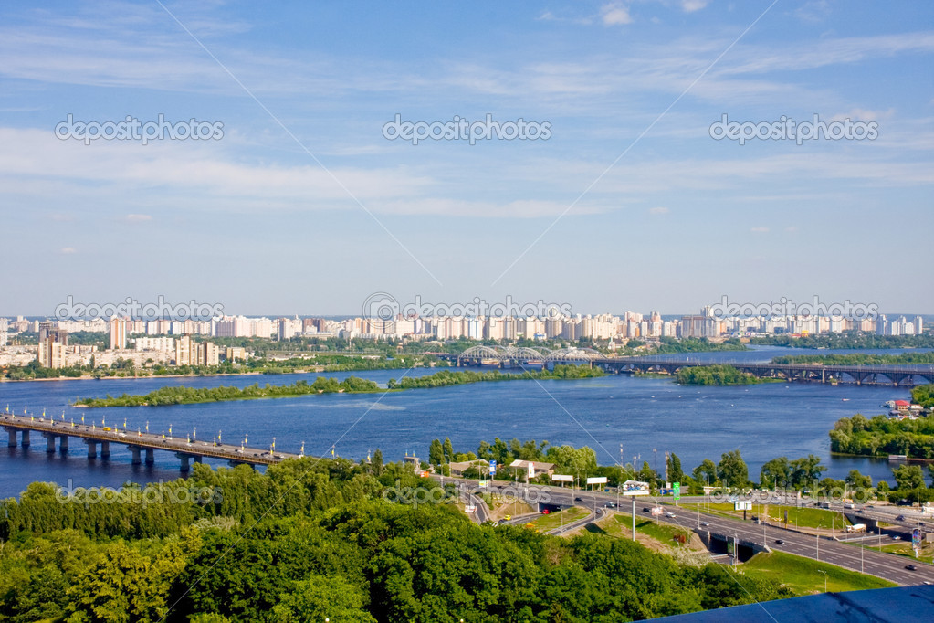 Kyiv, Ukrain.View on the Dnieper River and the area Darnitsa  Stock Photo #11395933