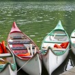 Kayaks on a lake in East Germany — Stock Photo