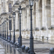 Stock Photo: Metallic retro lampposts in Paris, France