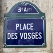 Retro blue signpost in Paris, France — Stock Photo