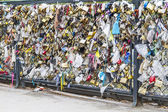 Love Locks in Paris, France, representing secure love and romance — Stock Photo