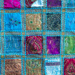 Handmade patchwork quilt from India — Stock Photo