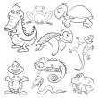 Coloring book with reptiles and amphibians - Stock Vector